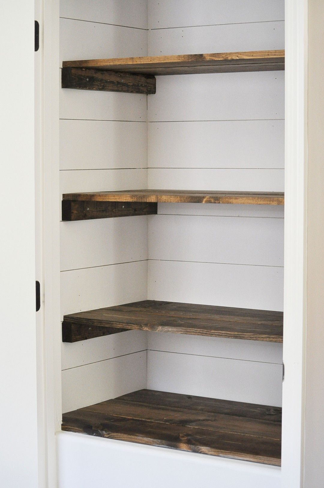 Farmhouse Pantry Makeover Wood Closet Shelves Pantry