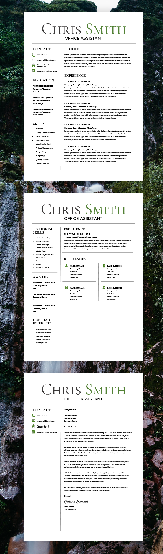 Trending Resume Template - CV Template - Free Cover Letter - MS Word ...