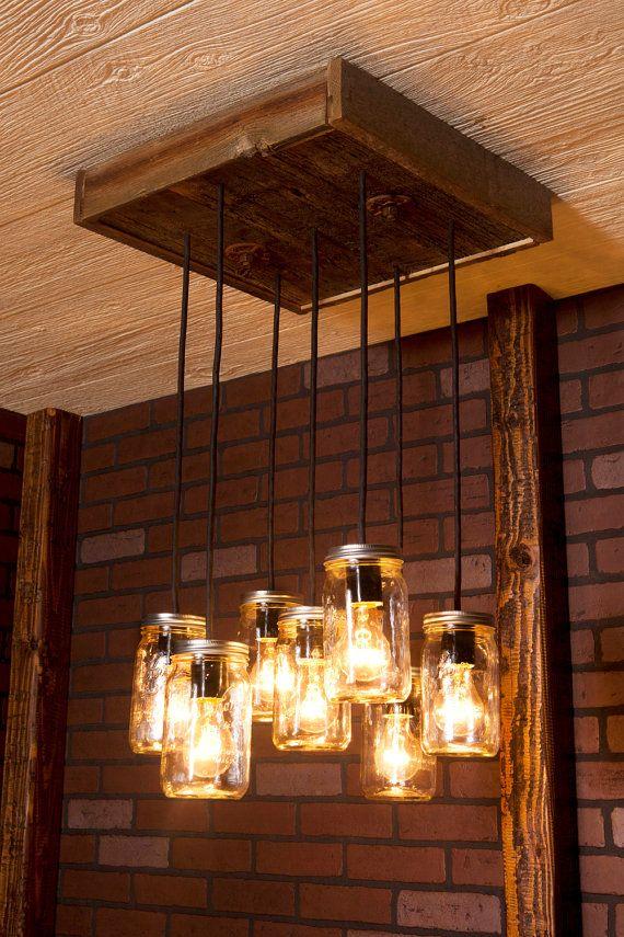 Dining Room Lighting Mason Jar Chandelier By Bornagainwoodworks