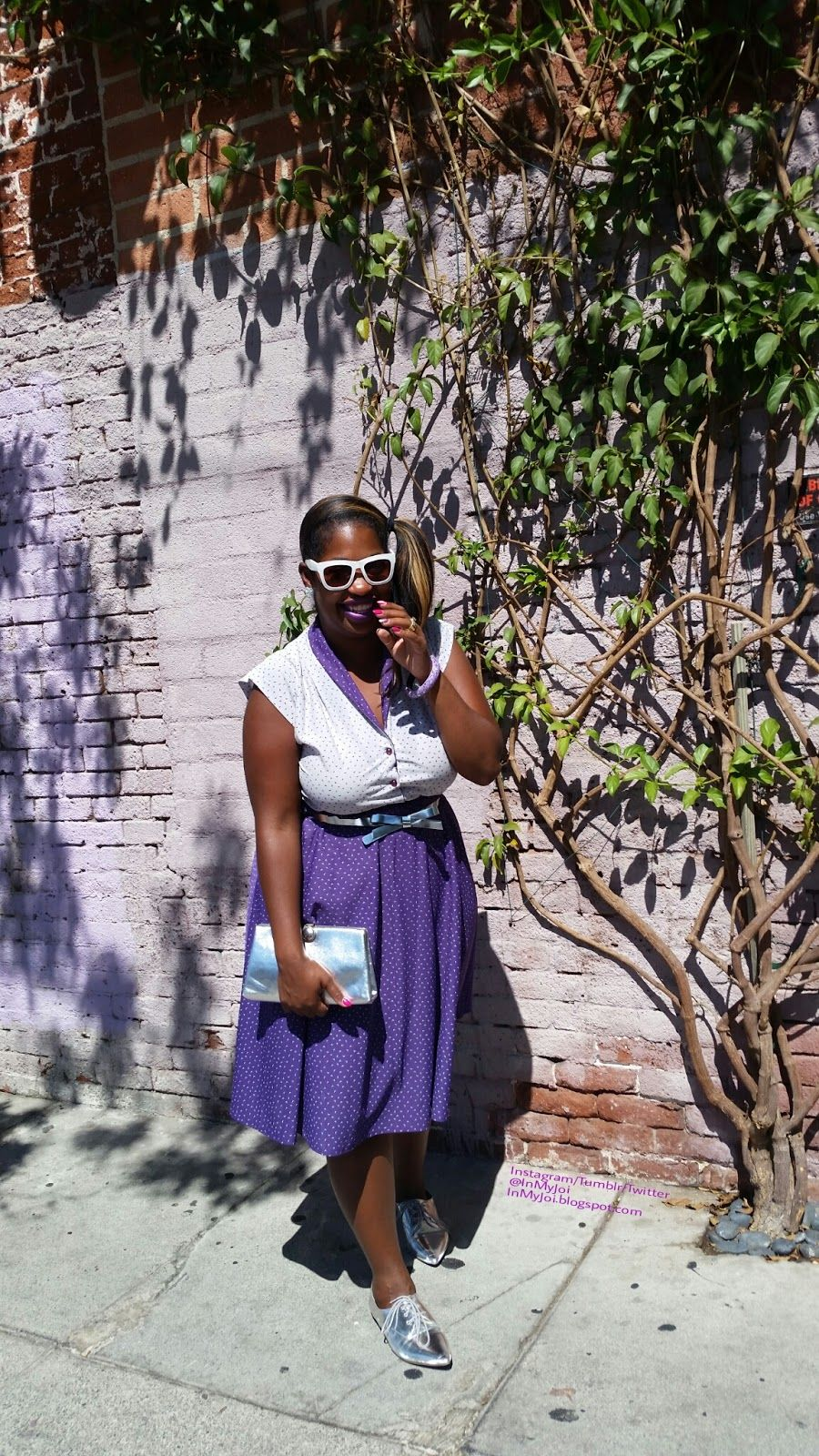 In My Joi: #thriftstorescore #thrifted #vintagedress #vintagebag #oxfords #psblogger #blogger