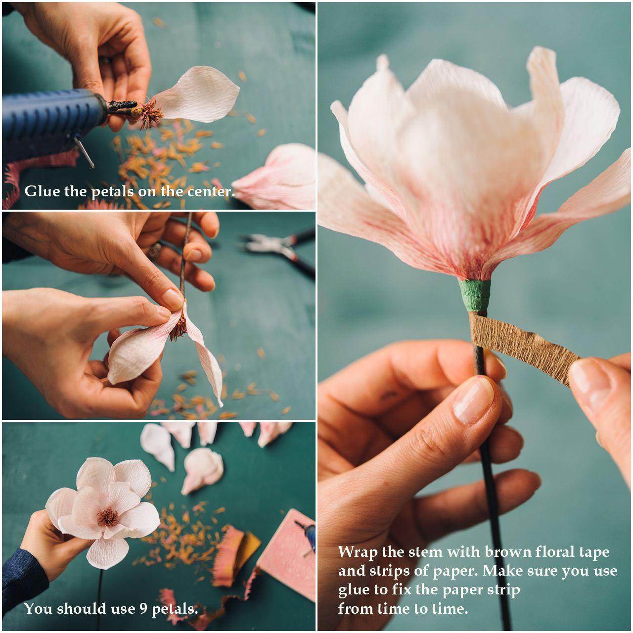 Paper magnolia tutorial
