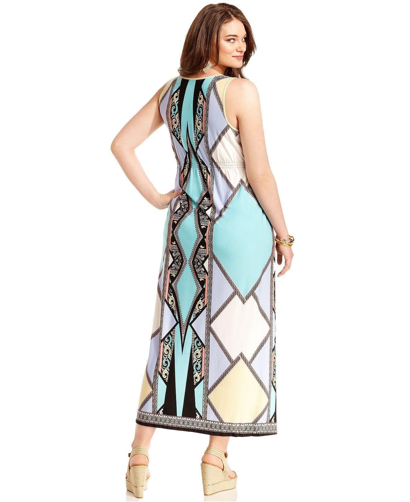 One World Plus Size Dress, Sleeveless Printed Maxi - Plus ...