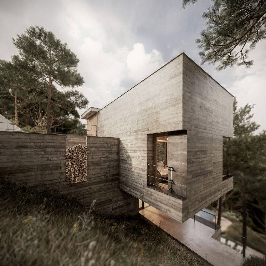 Sophisticated Minimalism in a Home Embedded in Vegetation by Design - plan d une maison en 3d