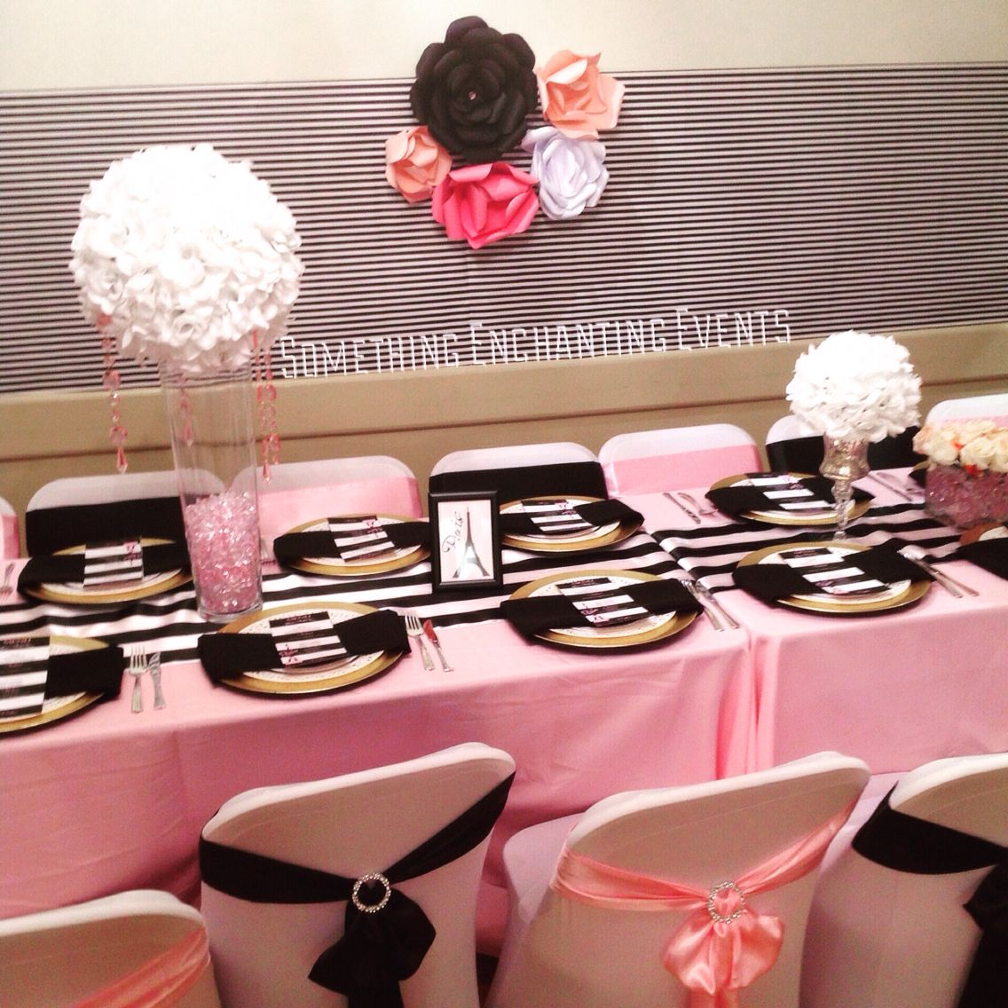 Table Setting with a paper flower wall background & Table Setting with a paper flower wall background | Paris themed ...