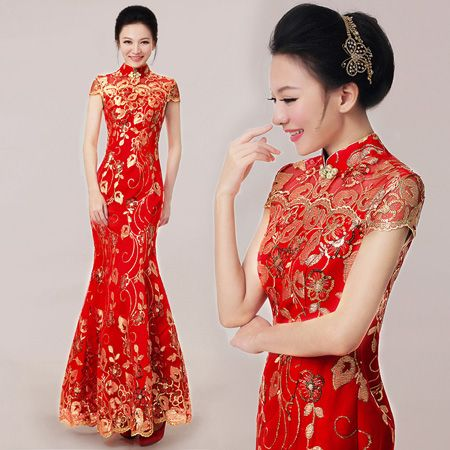2b7f2cf98cf Red Ankle-length Sequined Fishtail Cheongsam   Qipao Wedding Dress ...