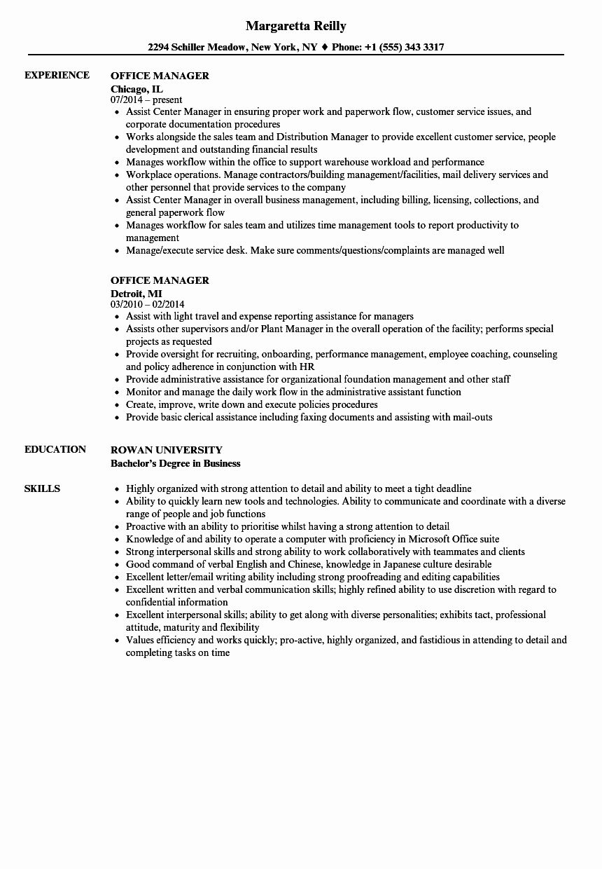 25 Office Manager Resume Template in 2020 Office manager