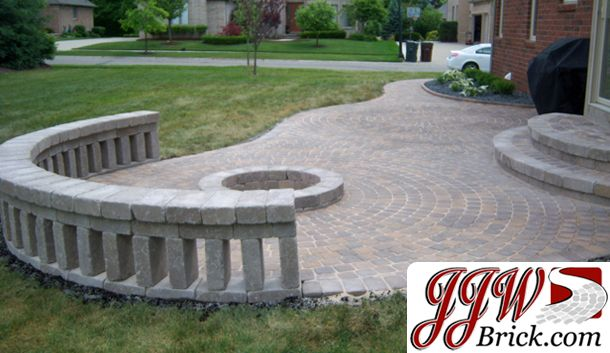Ground Level Paver Patio With Recessed Fire Pit And Brick Seating Wall.  #firepit #
