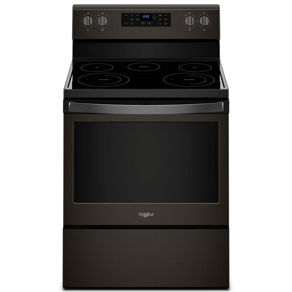 Whirlpool 5 3 Cu Ft Electric Range With Self Cleaning Oven In Black Wfe525s0hb Self Cleaning Ovens Oven Cleaning