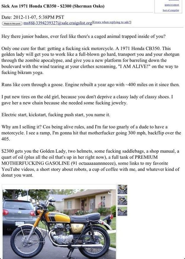 The Best Overpriced Motorcycle Ad Ever Bikes Funny Funny Sites