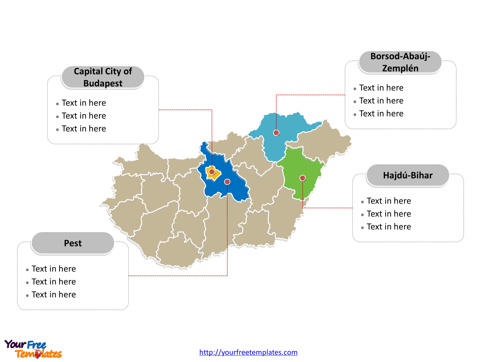immediately free download editable hungary outline and political map