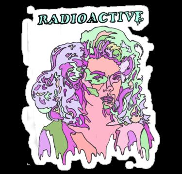 Radioactive sticker pastel green purple pink creepy cute drippy