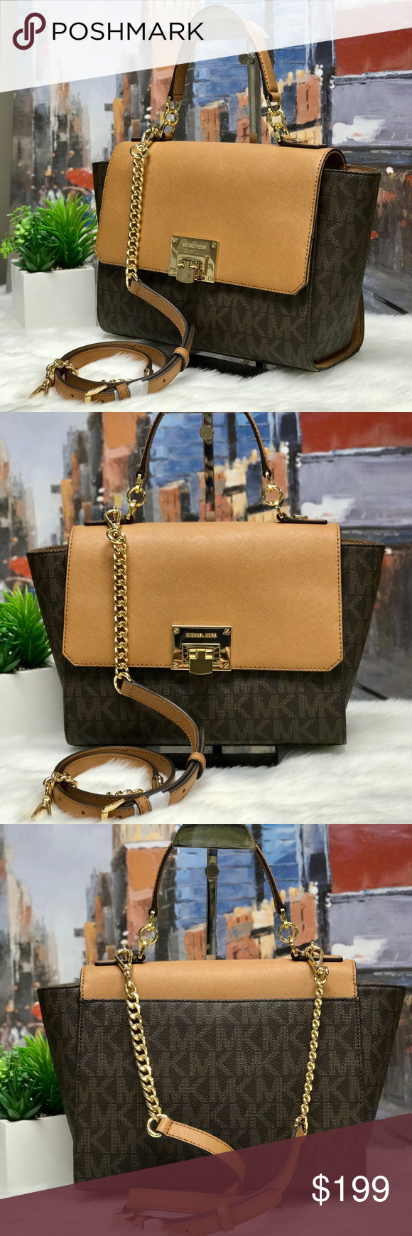 f8dd16b4db5f Michael Kors Tina Medium Satchel Color: Brown/Acorn MK Signature PVC w/  Saffiano