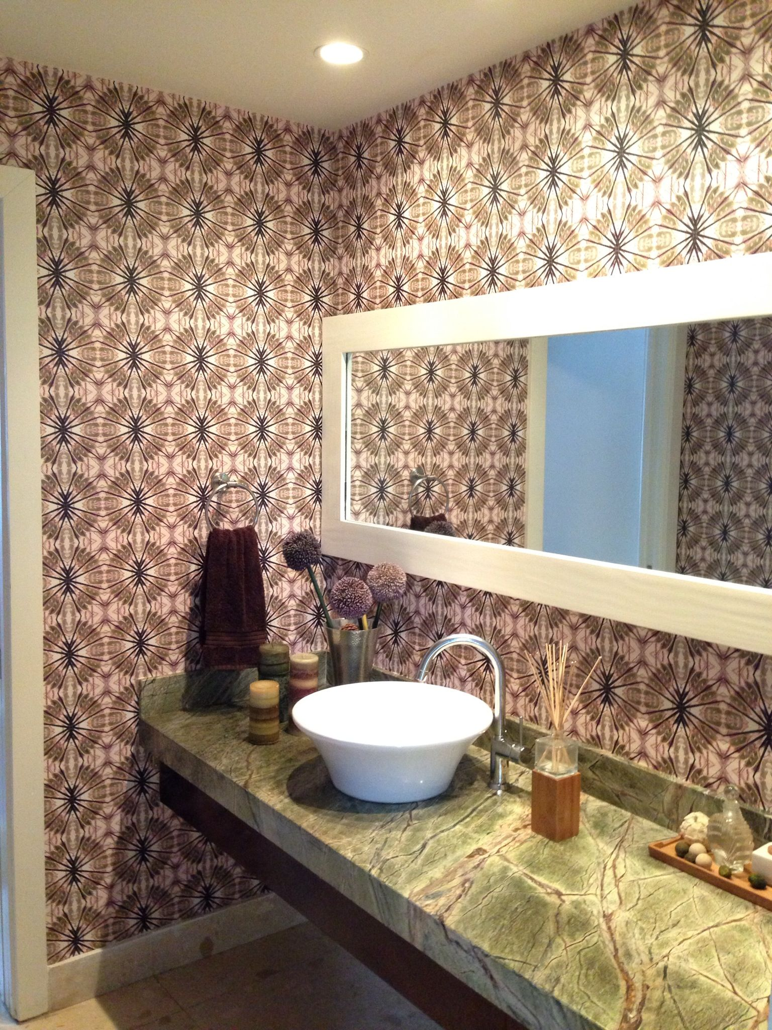 Ojibwe Wallcovering By EDGE Collections Featured In A Private Residenceu0027s  Bathroom In Miami, FL. Interior Designed By Kakar House Of Design By Anilu2026
