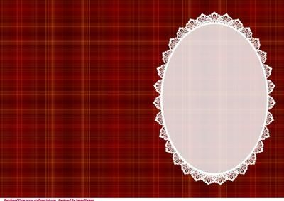 Christmas Red Tartan Insert With White Lace on Craftsuprint - Add To Basket!