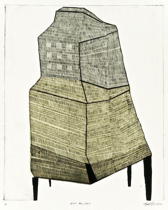 Kim Van Someren: High Boy Fort, 2010, Drypoint, chine colle, monotype, 19 x 15 1/2 inches