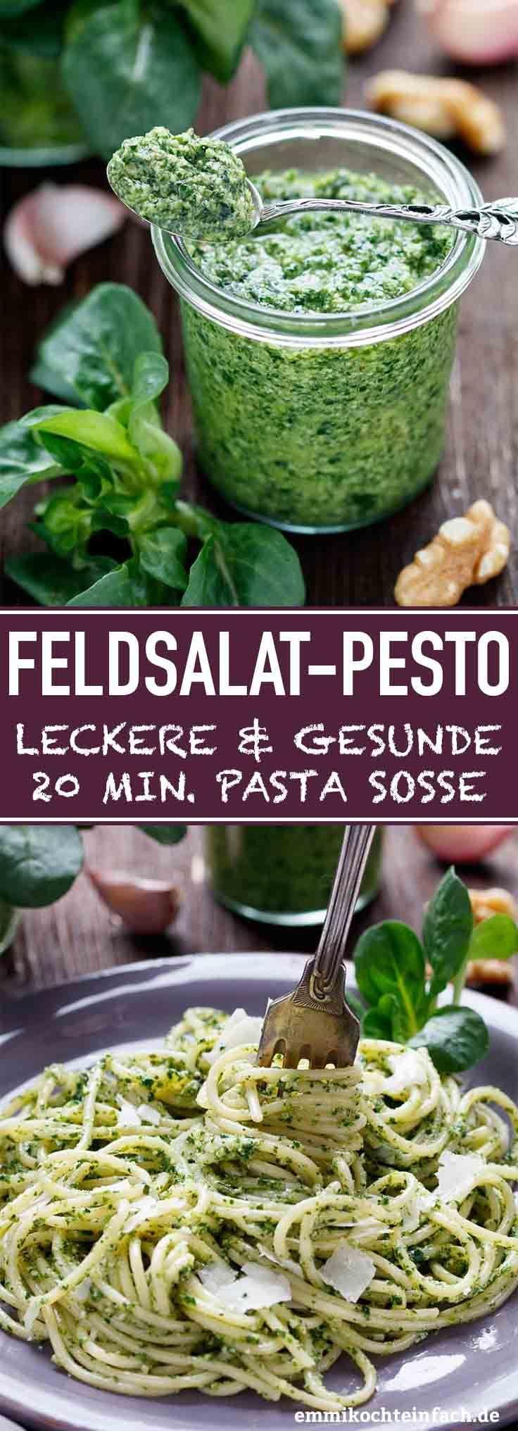 Feldsalat Pesto - die schnelle Spaghetti Sauce - emmikochteinfach #homemadesauce