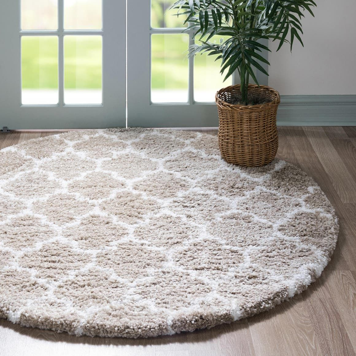 Morroccan Shag Taupe 3 Ft Round Area Rug In 2020 Rugs Round