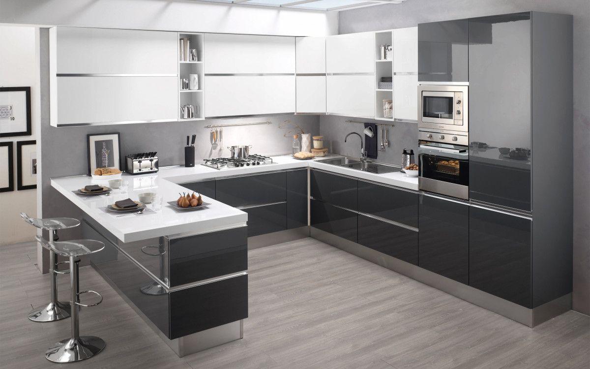 Cucina componibile, grafite lucido, grafite lucido, bianco lucido ...