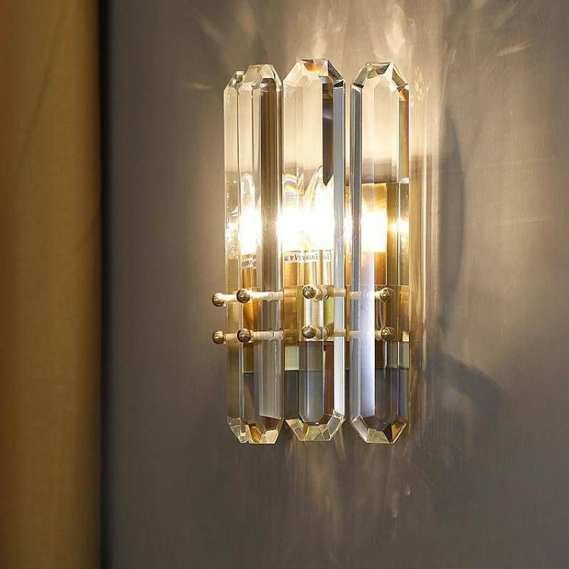 Long Crystal Rod Wall Sconce For Living Room Modern Crystal Wall Lamp Bedroom Hotel Fixture Hallway Tv Background Led Wall Light In 2021 Led Wall Lights Wall Lamps Bedroom Wall Lights