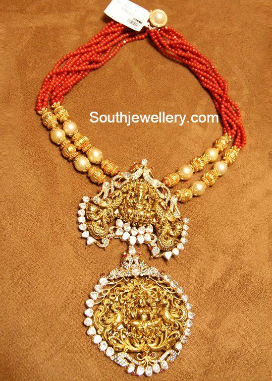 Coral beads chain with two step temple pendant featuring Lord Ganesh