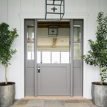 Gray Dutch Door With Sidelights