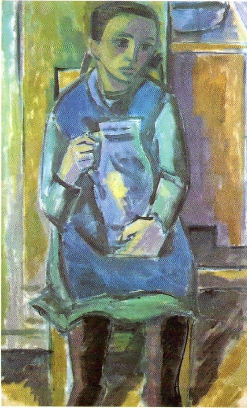 Carl Rabus Bauernmädchen mit blauem Krug, 1930er Jahre, Öl auf Leinwand