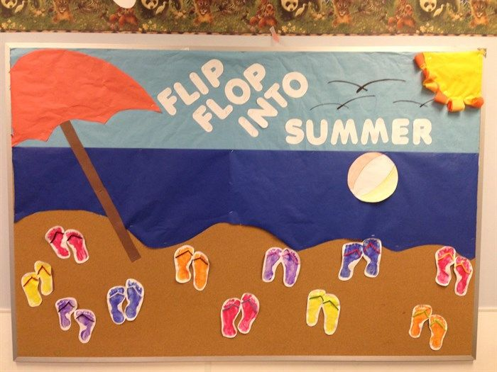 June Classroom Ideas ~ Quot flip flop into summer bulletin board idea