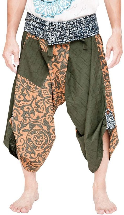 Samurai Harem Pants Indigo Dye Wrap Around Waist Green Arabian Tribal - CL18OEZ7450 - Sports & Fitne...