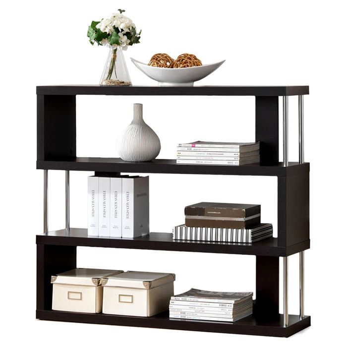This is a sexy black Bookcase, love the alternating poles.