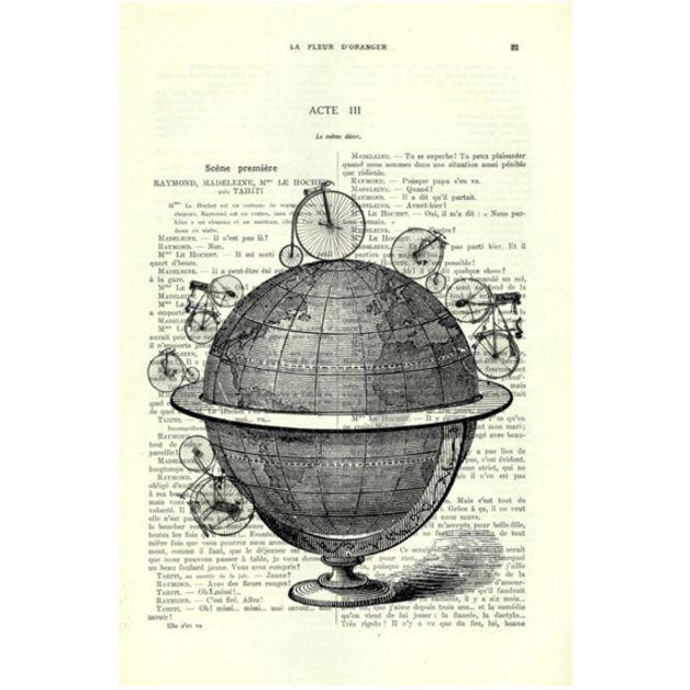 Wanddeko - Globus mit Fahrrad, Dictionary Art Print - ein Designerstück von MadameMemento bei DaWanda
