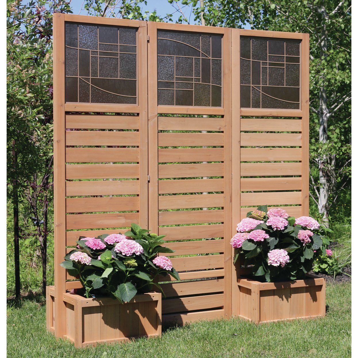 Yardistry Langdon Privacy Screen with Planters Patio