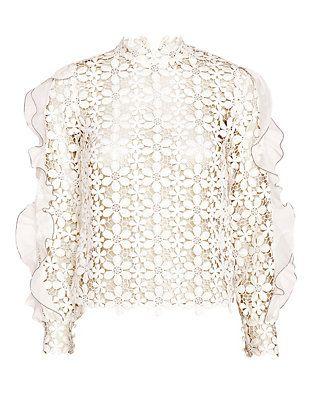 78d7951e2ff46b Self Portrait Floral Lace Flounce Sleeve Top: White | Intermix ...