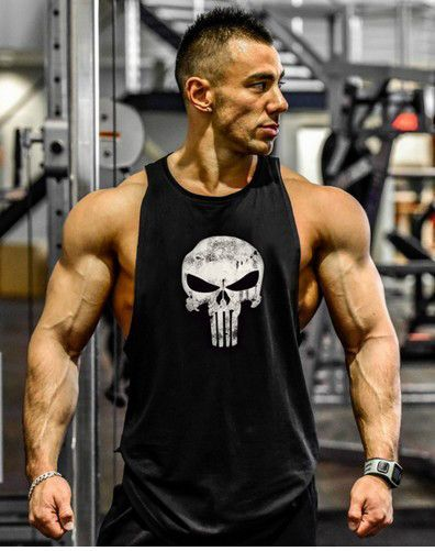 Hoodie Punisher Tank Stringer Golds Men Bodybuilding Gym Muscle  FAST SHIPPING
