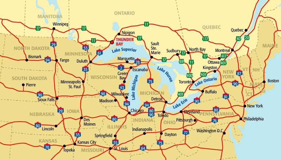 Road Map Usa And Canada Highway Map Of Usa northeastern states road map map of the