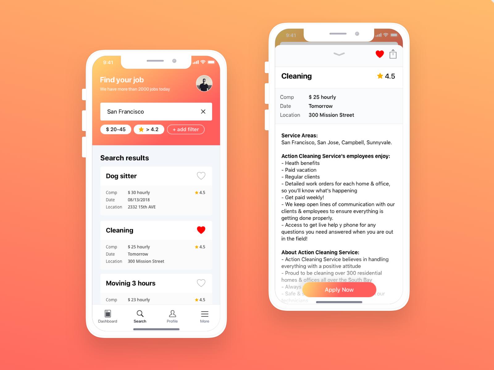 Job seek app design | Adhoc References | App design, App, Design