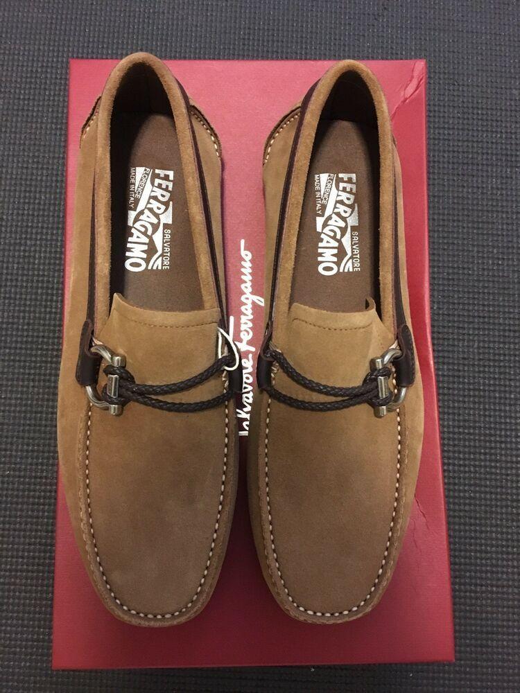 Salvatore Ferragamo Mens Front Seude Loafers Camel Size 6EEE