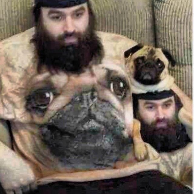 Man In Dog Shirt Poses With Dog In Man Shirt Funny Cute Haha