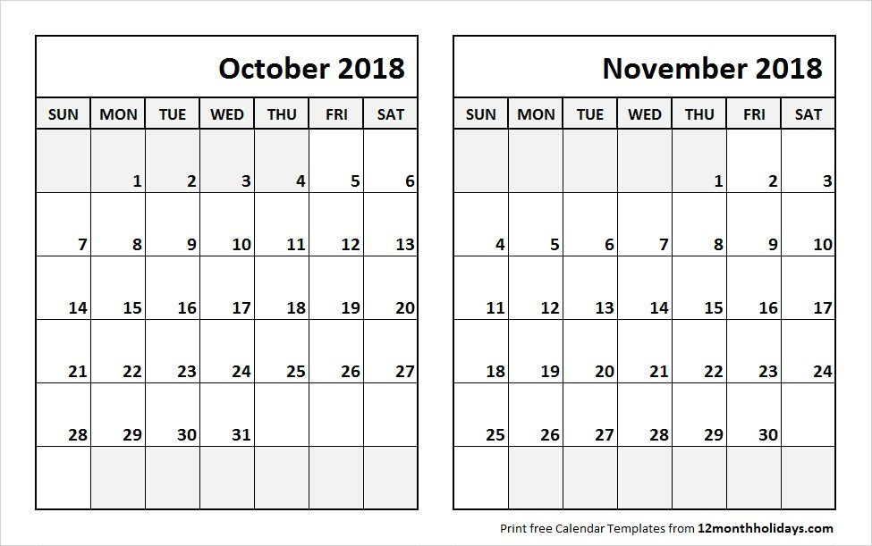 Print October November 2018 Calendar Template October 2018