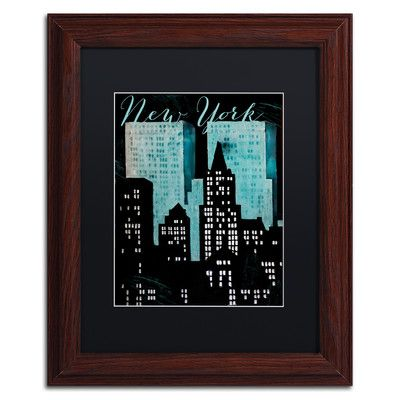 "Trademark Art 'Retro Cities I' Framed Graphic Art Size: 14"" H x 11"" W x 0.5"" D, Mat Color: Black"