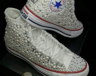Wedding Converse- Bridal Sneakers- Bling & Pearls Custom Converse ...