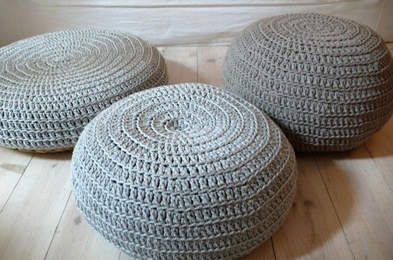 Floor Cushion Crochet-silver gray