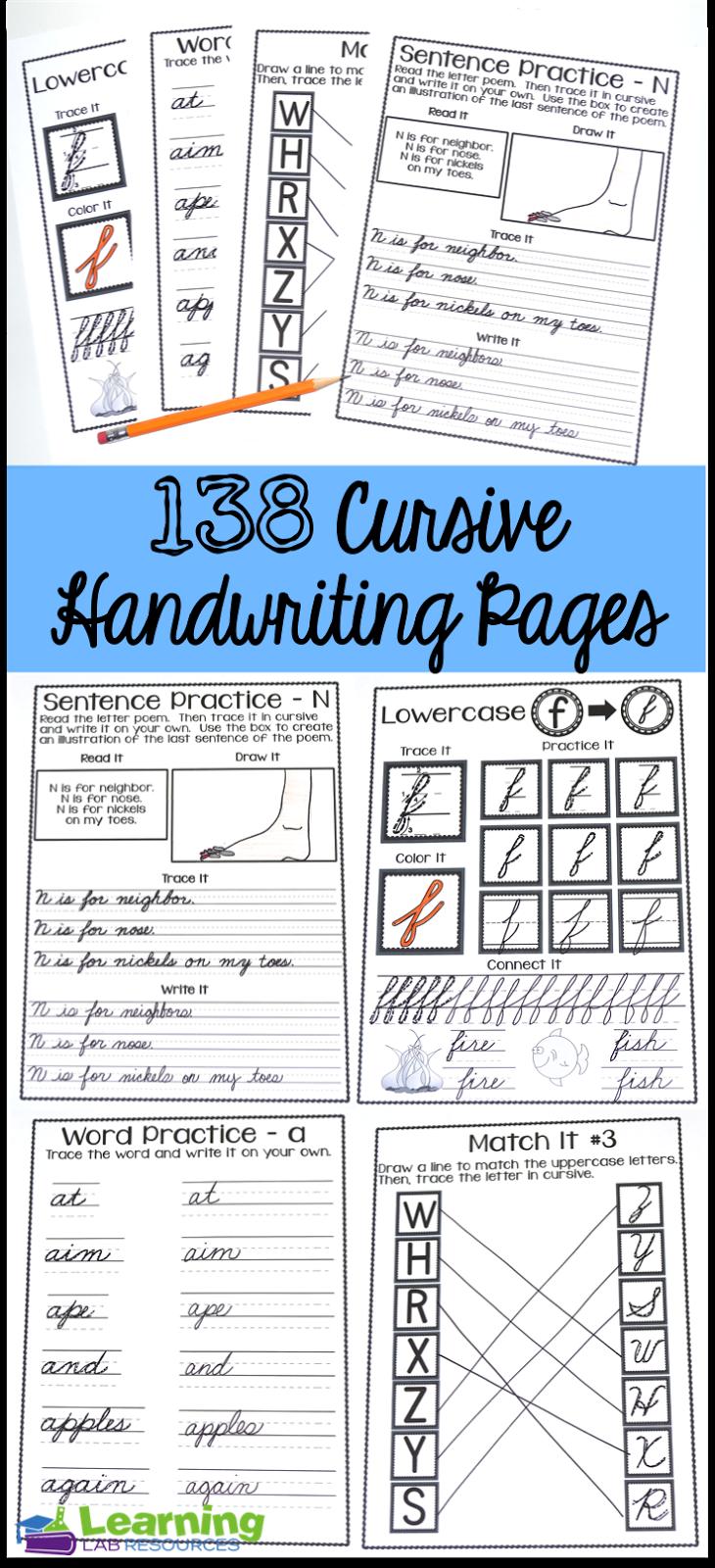 Cursive Handwriting Practice Pages | Schreibschrift und Schule