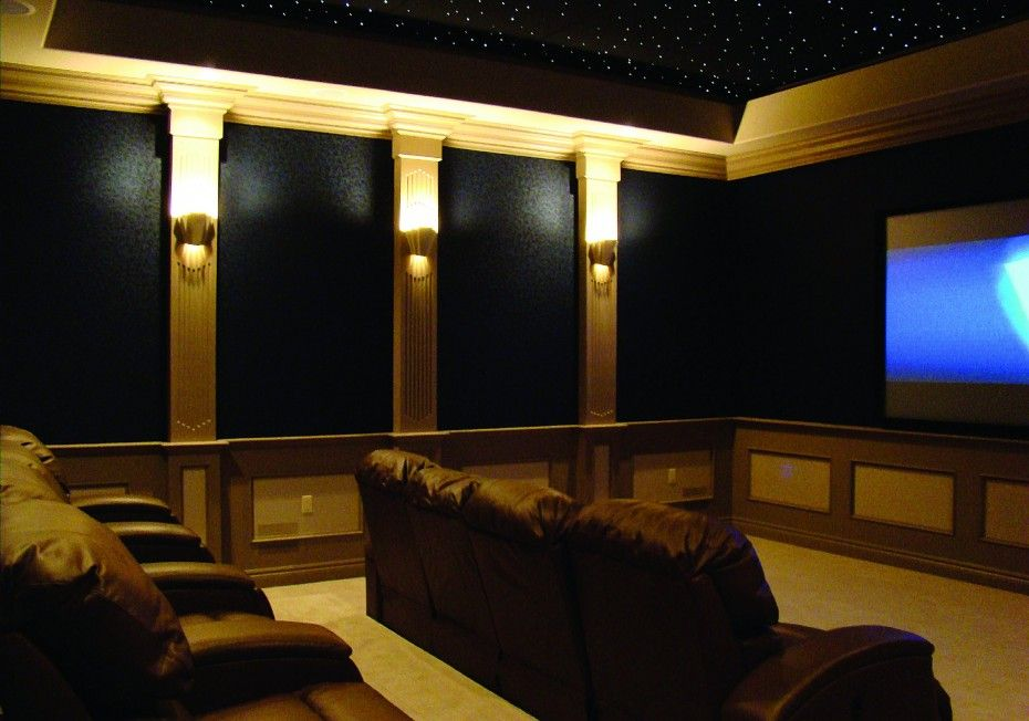 Home Theater Wall Panels black wall panel with lightings on poles and brown leather theater