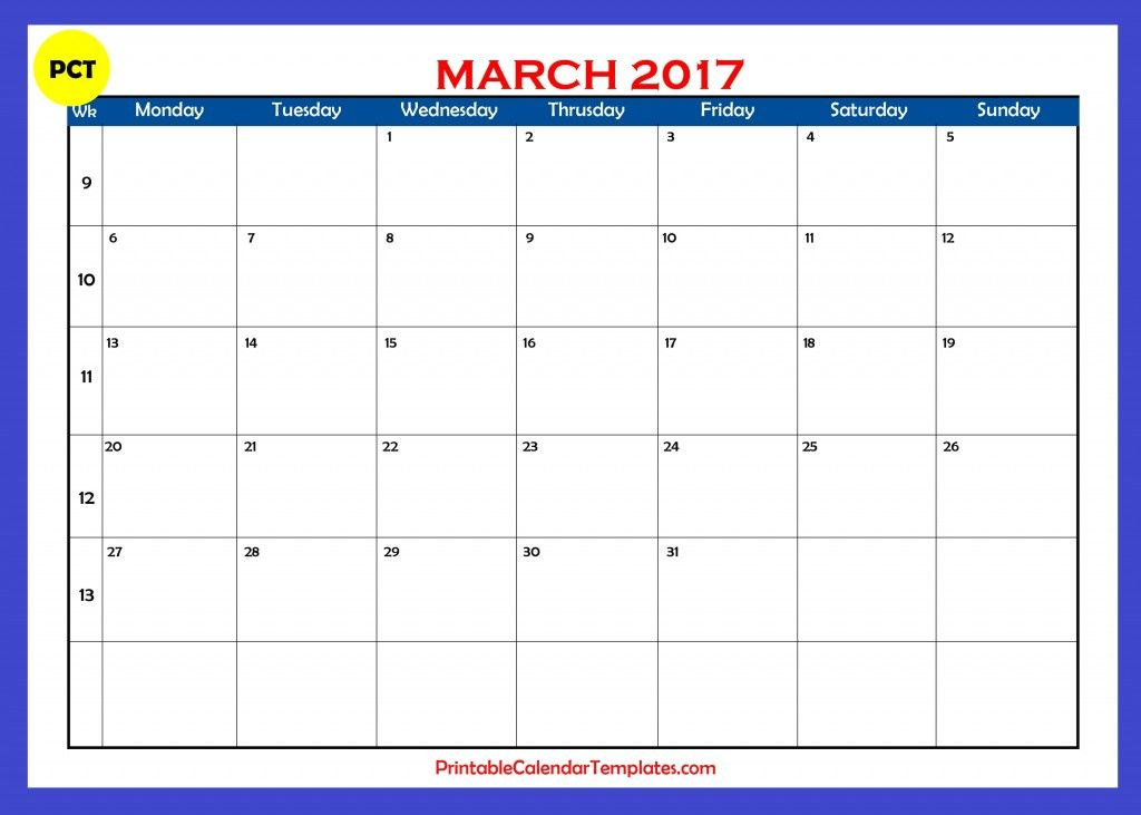 march 2017 calendar, march 2017 monthly calendar, march 2017 - free blank calendar