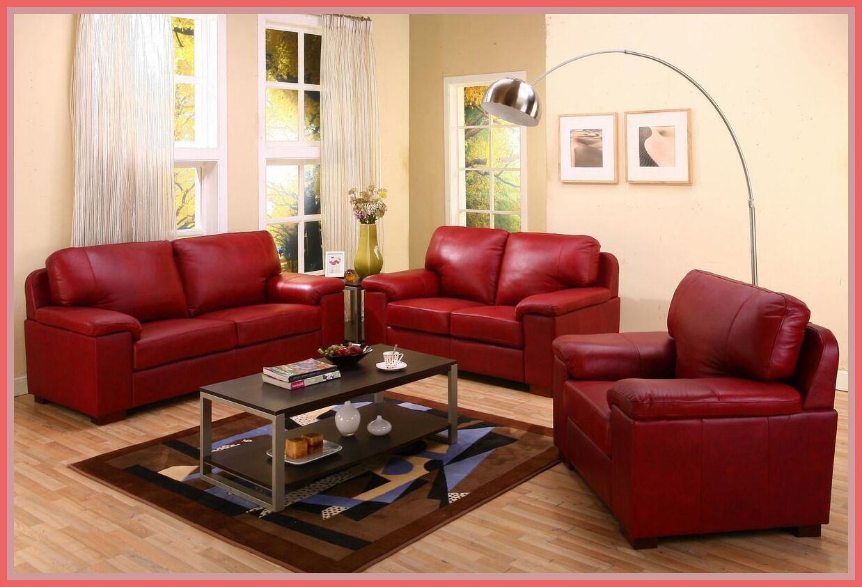 121 Reference Of Red Leather Sofa Living Room Ideas In