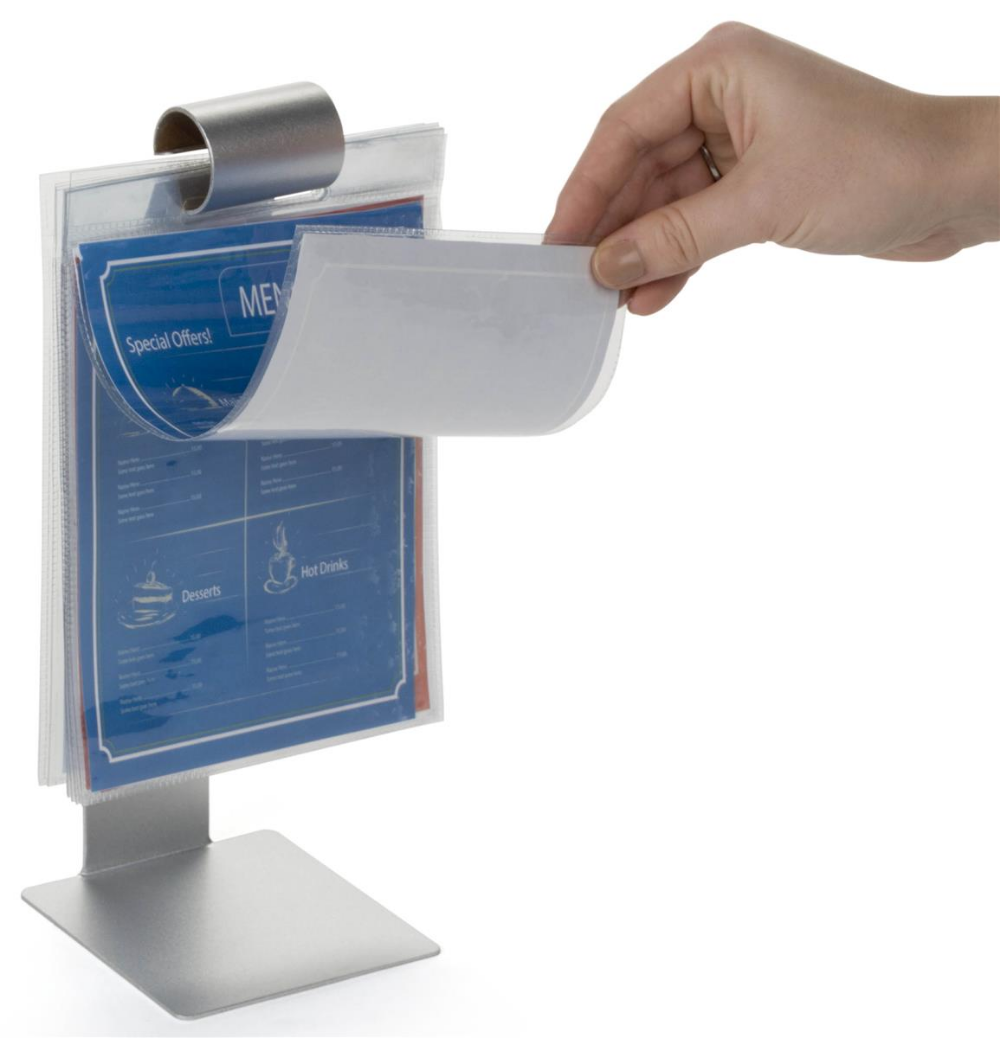 10 5 Flip Menu Holder For Tabletop 10 Vinyl Sleeves Stainless Steel Silver Bar Displays Menu Stand Menu Holders