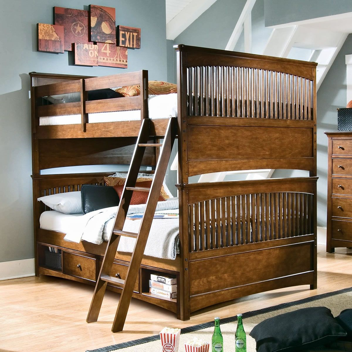 Full over full wood bunk beds interior house paint ideas check