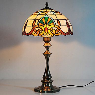 167 99 40w Romantic Table Lamp With Glass Lamp Shade And Vertical Pole A Mosaic Of Blue And White Lamp Shade Lamp Glass Lamp Shade