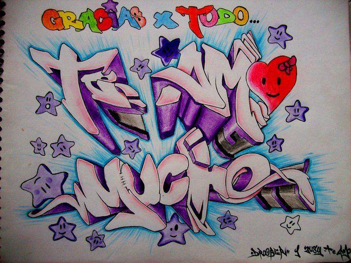 Graffitis De Amor Te Amo Mucho Jpg 720 540 Graffitis De Amor Flores Para Dibujar Te Amo Dibujo