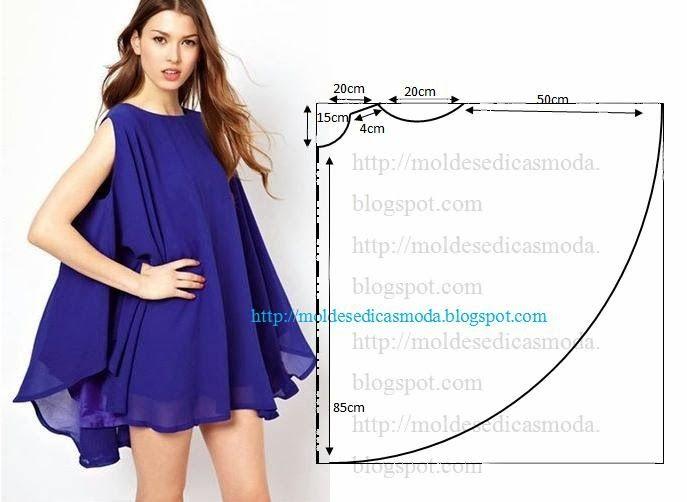 Vestido godé azul marinho com o passo a passo do molde | Dress ...